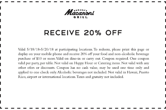 Macaroni Grill Coupon October 2018 20% off at Macaroni Grill restaurants