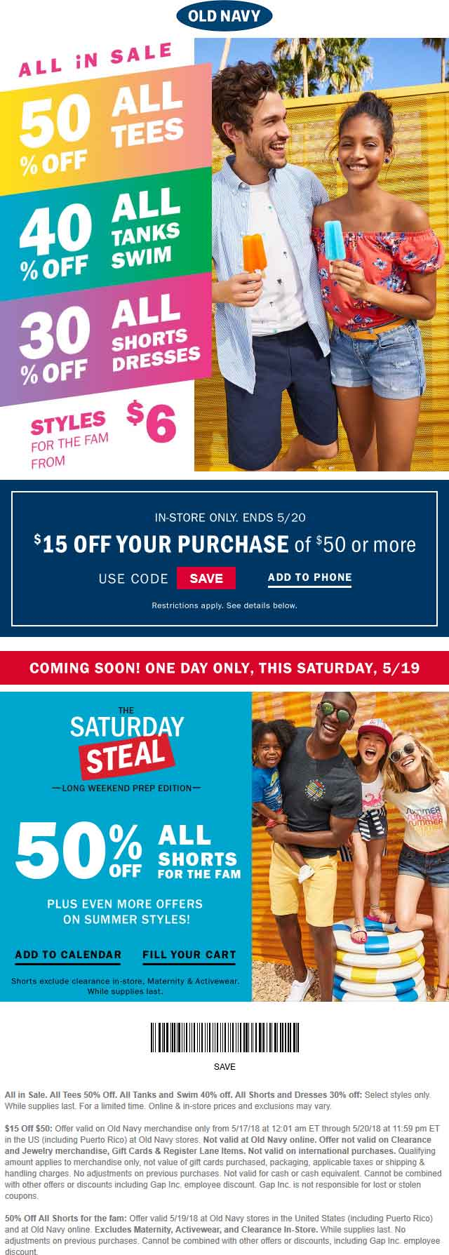 OldNavy.com Promo Coupon $15 off $50 at Old Navy