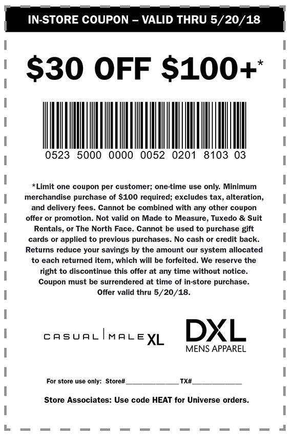 Casual Male XL Coupon March 2019 $30 off $100 at DXL & Casual Male XL
