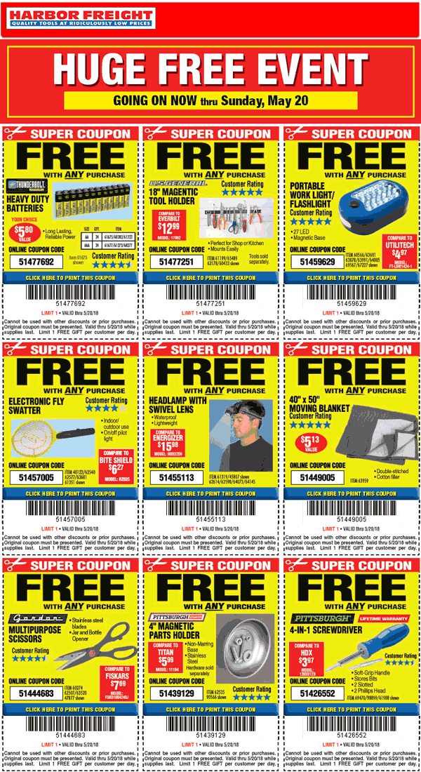 HarborFreight.com Promo Coupon Bunch of free stuff with any purchase today at Harbor Freight Tools