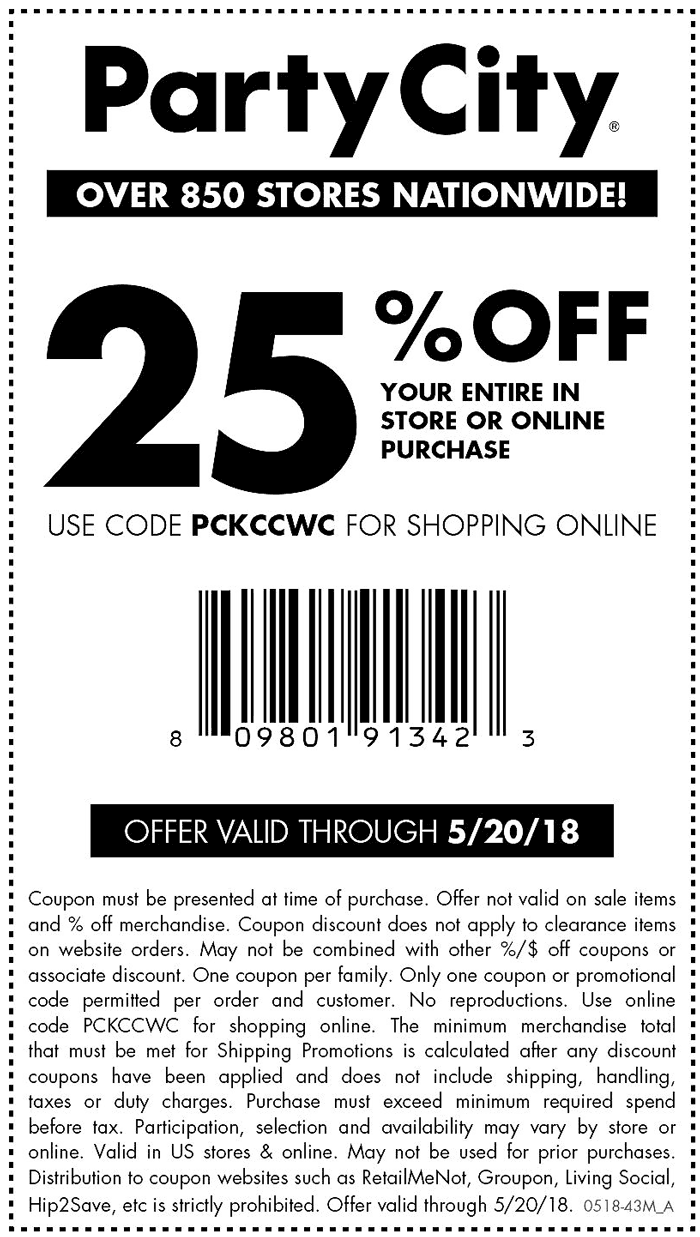Party City Coupon August 2018 25% off today at Party City, or online via promo code PCKCCWC
