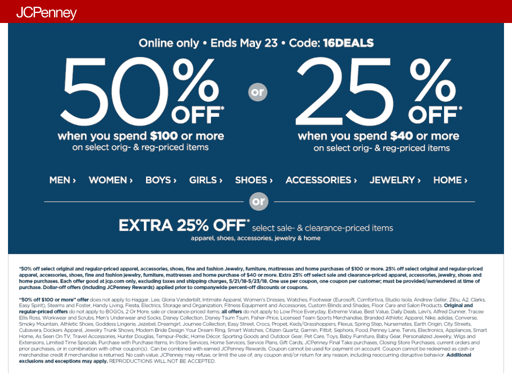 JCPenney.com Promo Coupon 50% off $100 online at JCPenney via promo code 16DEALS