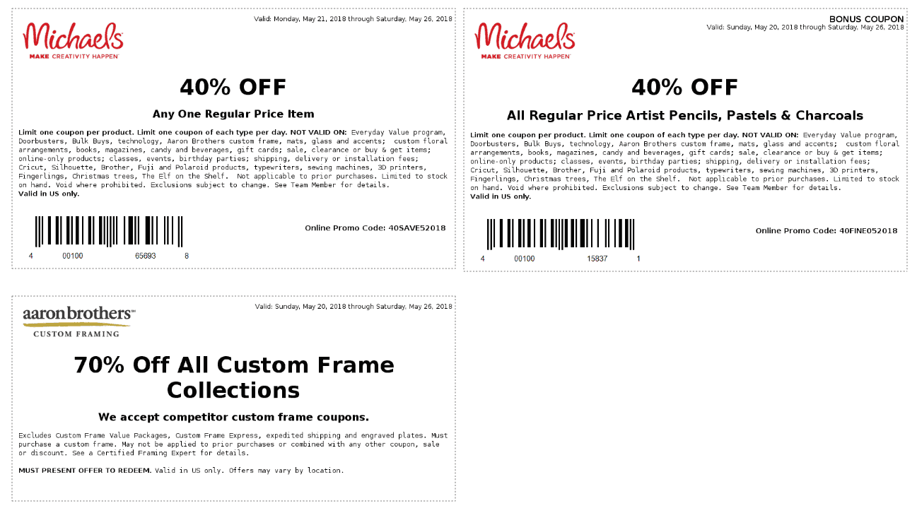 Michaels.com Promo Coupon 40% off a single item at Michaels, or online via promo code 40SAVE52018