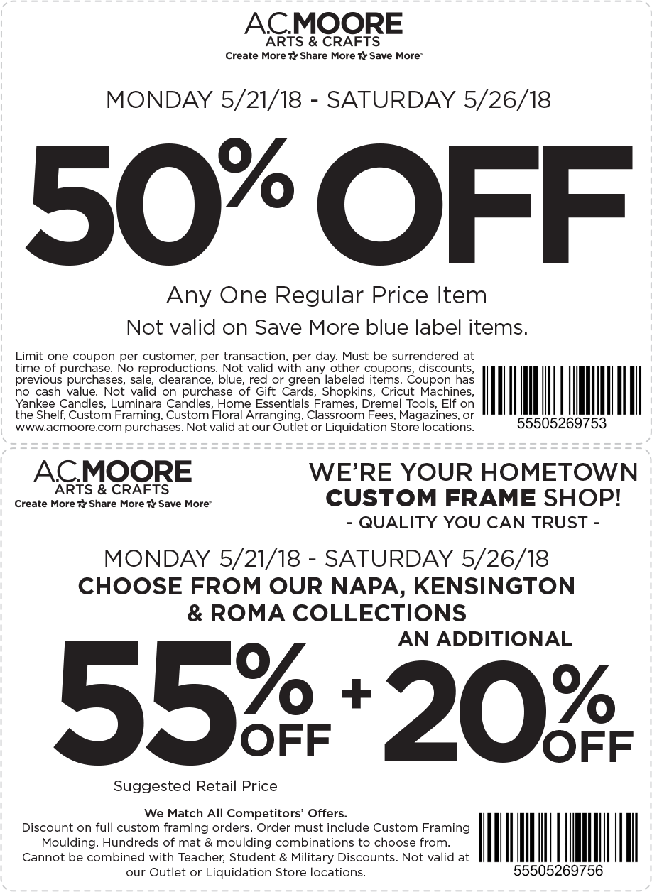 A.C.Moore.com Promo Coupon 50% off a single item at A.C. Moore