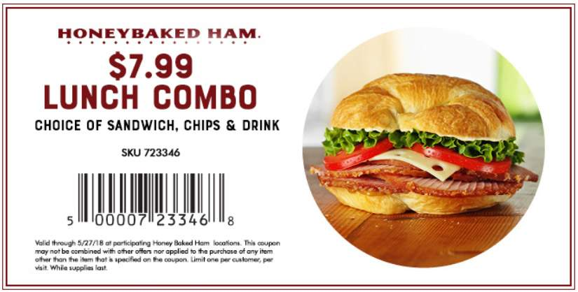 HoneyBaked.com Promo Coupon Sandwich + chips + drink = $8 at Honeybaked Ham