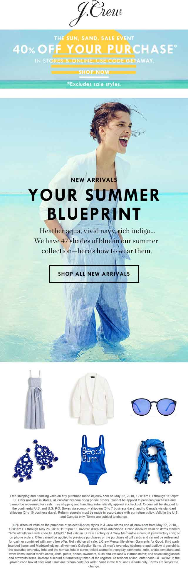 J.Crew Coupon March 2019 40% off at J.Crew, or online via promo code GETAWAY