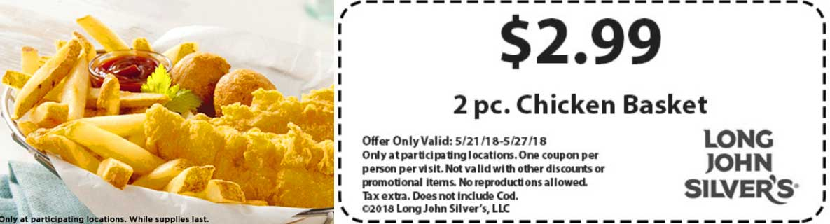 LongJohnSilvers.com Promo Coupon 2pc chicken basket for $3 at Long John Silvers restaurants