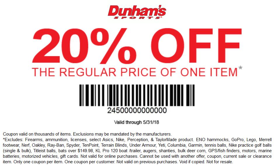 DunhamsSports.com Promo Coupon 20% off a single item at Dunhams Sports