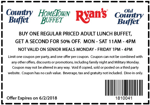Hometown Buffet Coupon October 2018 Second lunch 50% off at Ryans, HomeTown Buffet & Old Country Buffet