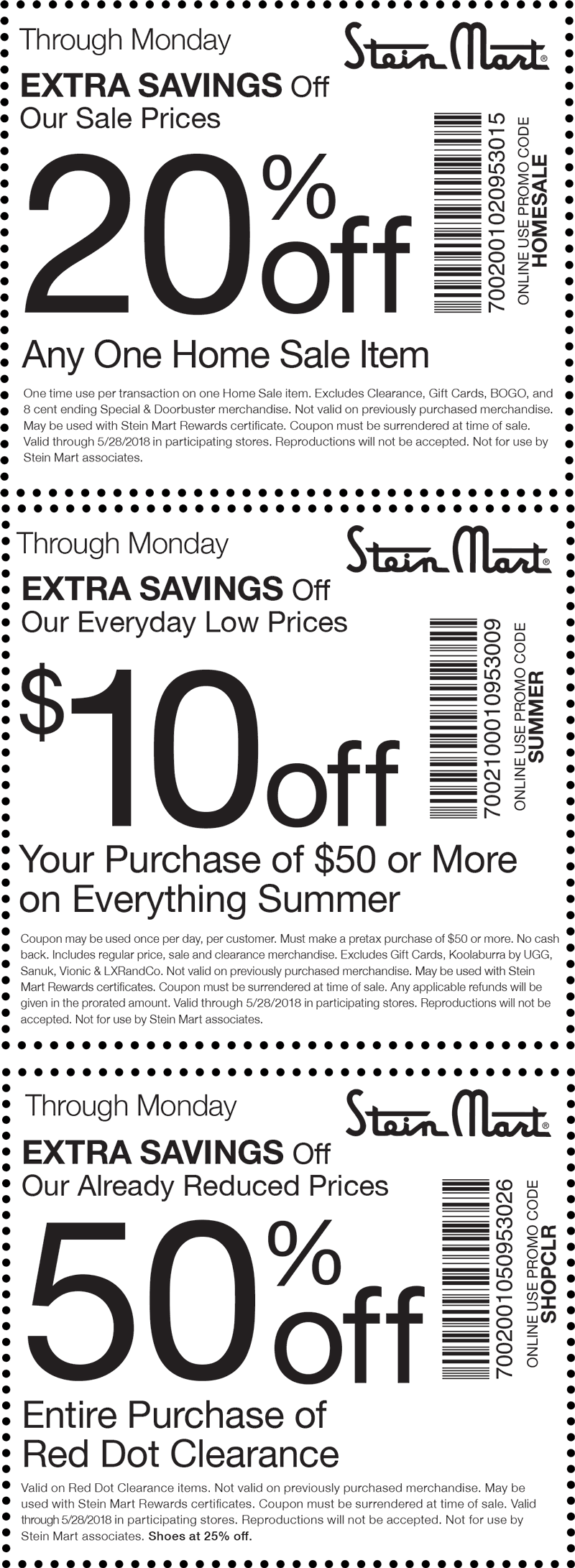 SteinMart.com Promo Coupon $10 off $50 on summer items & more at Stein Mart, or online via promo code SUMMER