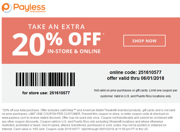 Payless Shoesource Coupon June 2018 Extra 20% off at Payless Shoesource, or online via promo code 251610577