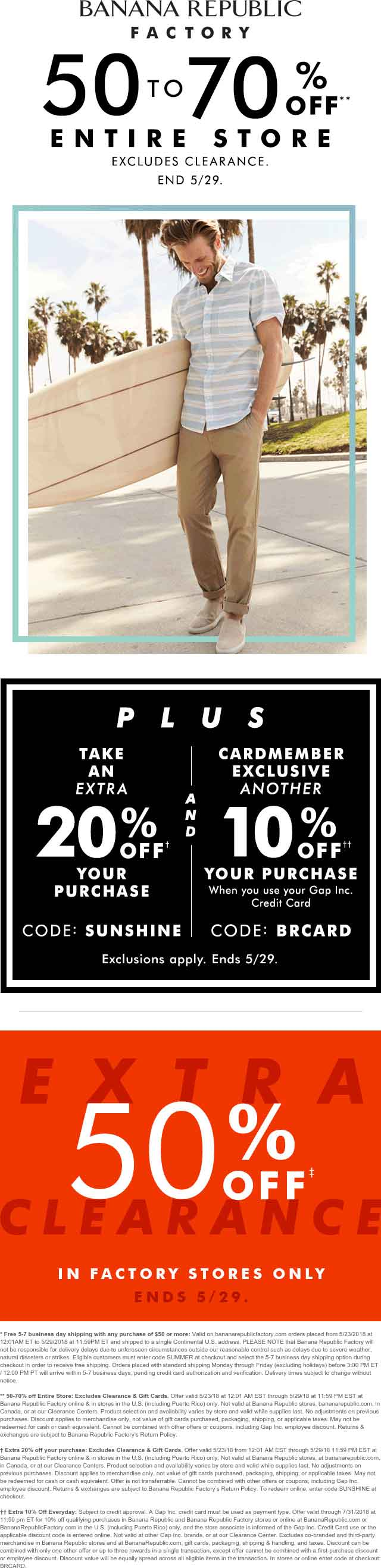 BananaRepublic.com Promo Coupon Everything is 50-70% off at Banana Republic Factory, ditto online