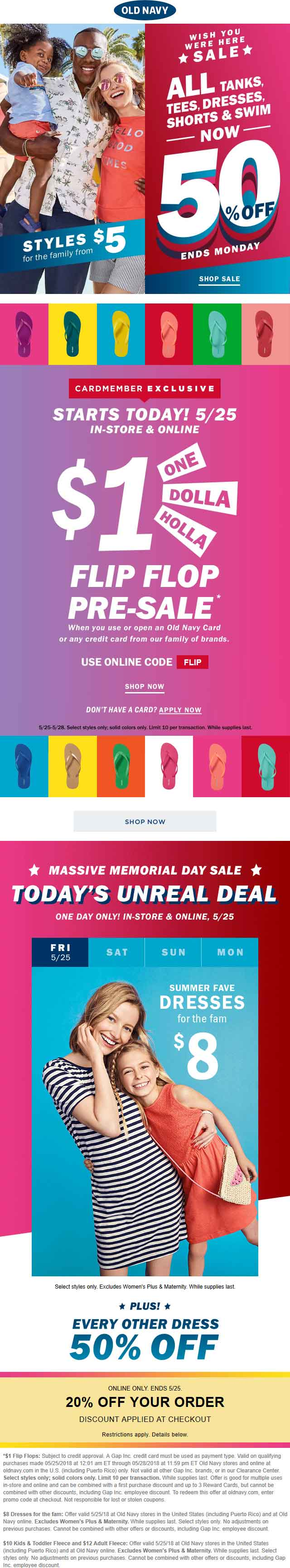 OldNavy.com Promo Coupon $1 flip flops & more at Old Navy, ditto online