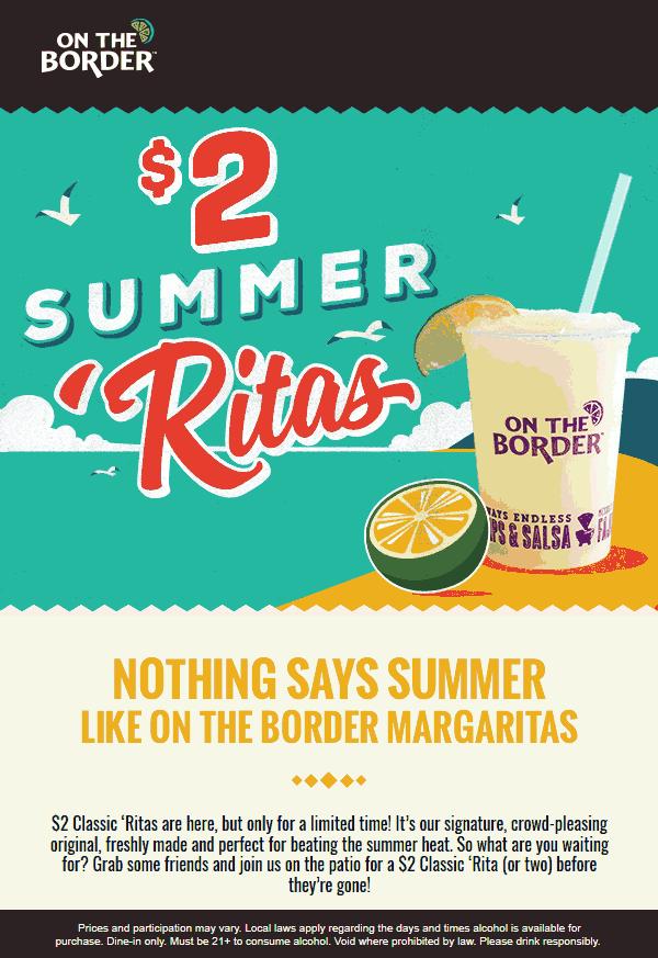 OnTheBorder.com Promo Coupon $2 margaritas at On The Border restaurants