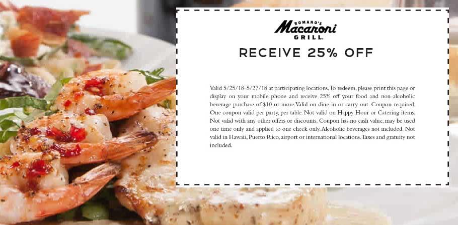 MacaroniGrill.com Promo Coupon 25% off at Macaroni Grill restaurants