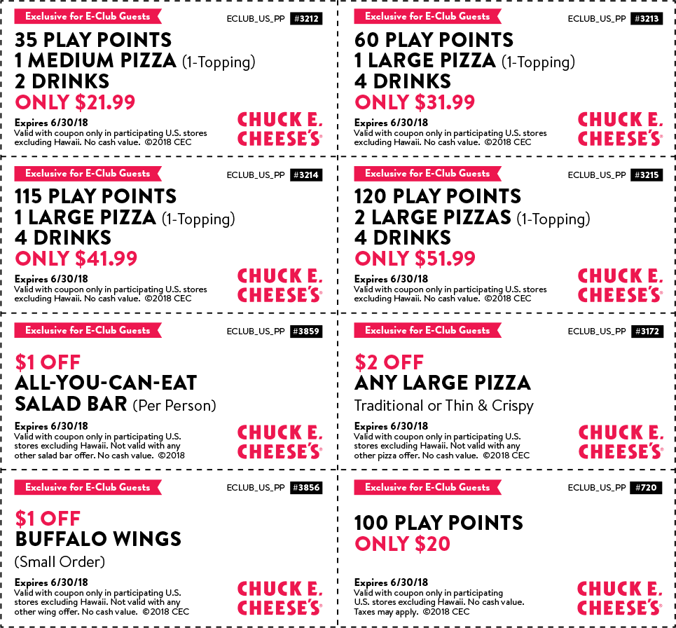 Chuck E. Cheese Coupon August 2018 35 play points + medium pizza + drinks = $22 at Chuck E. Cheese