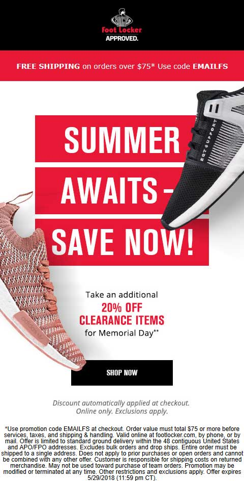Foot Locker Coupon August 2018 Extra 20% off clearance online today at Foot Locker, no code needed