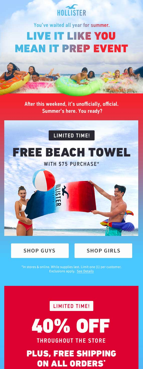 Hollister Coupon March 2019 40% off today at Hollister, ditto online
