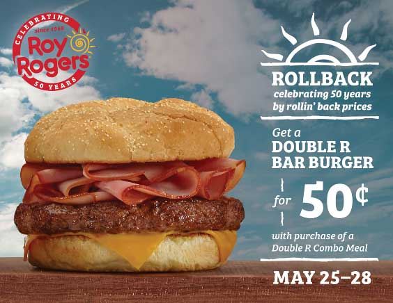 RoyRogers.com Promo Coupon Second double bar burger for .50 cents today at Roy Rogers restaurants