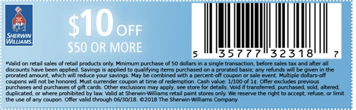 SherwinWilliams.com Promo Coupon $10 off $50 paint & stain at Sherwin Williams