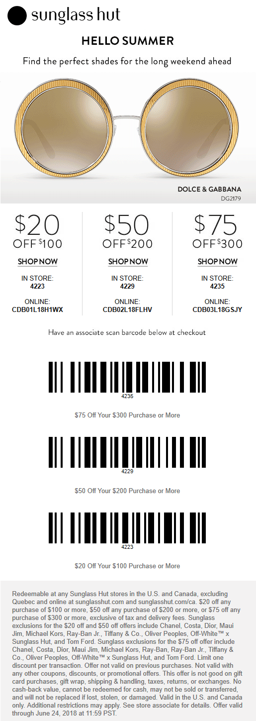 e5408cd414 Sunglass Hut Coupon May 2019  20 off  100   more at Sunglass Hut
