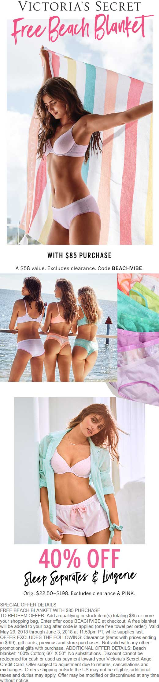 Victorias Secret Coupon September 2018 Free $58 beach blanket with $85 spent at Victorias Secret, or online via promo code BEACHVIBE