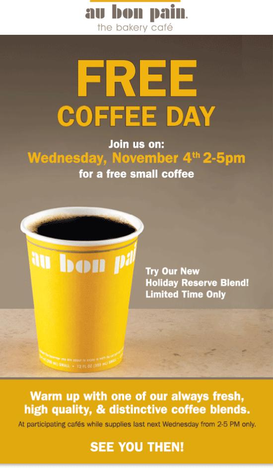 Au Bon Pain Coupon March 2018 Free coffee Wednesday at Au Bon Pain bakery cafe