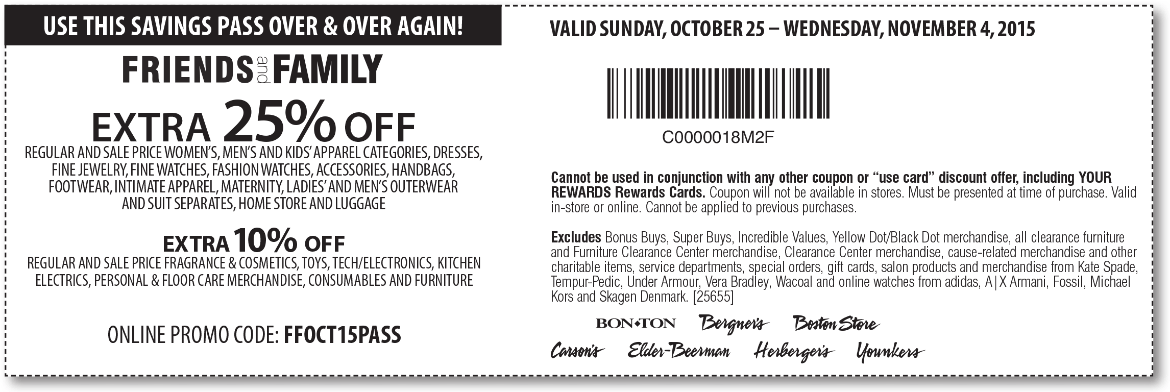 Bon Ton Coupon May 2018 Extra 25% off at Carsons, Bon Ton & sister stores, or online via promo code FFOCT15PASS