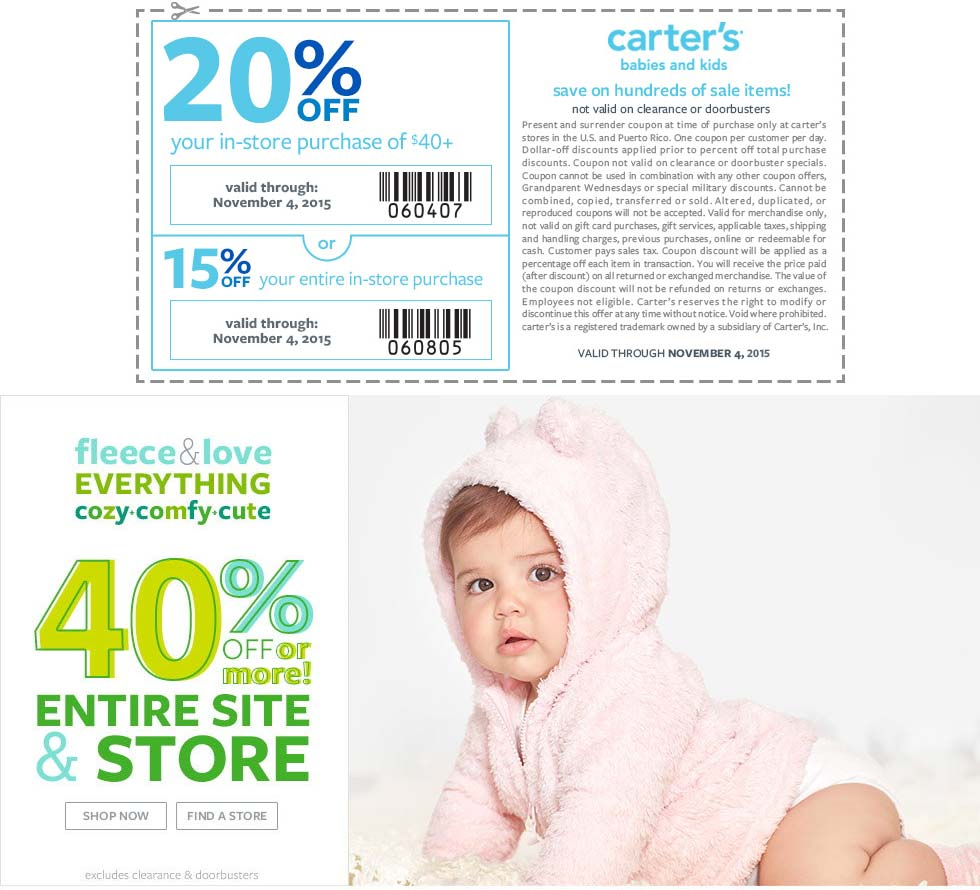 Carters Coupon October 2017 40% off everything + another 15-20% off at Carters, or online via promo code CARTNOV