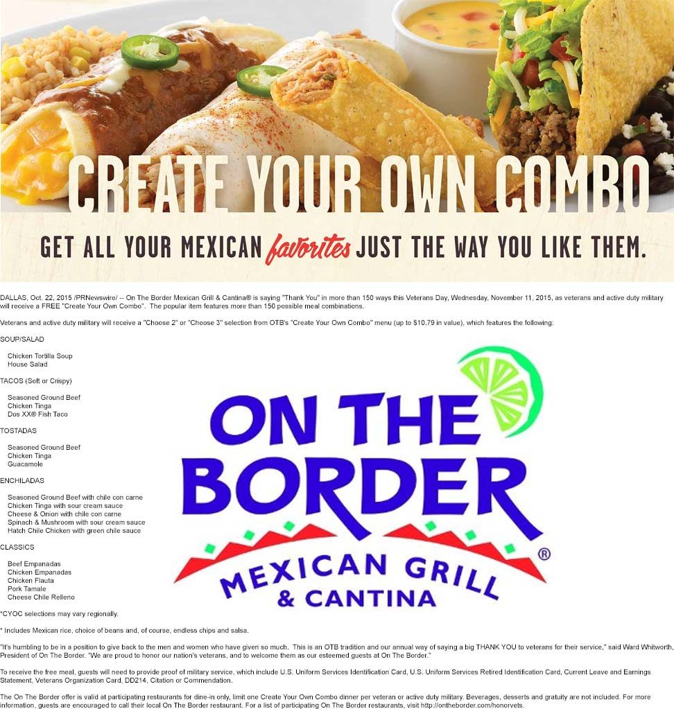 On The Border Coupon January 2018 Veterans enjoy a free combo meal the 11th at On The Border