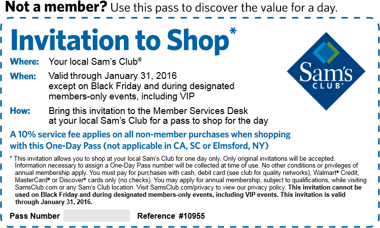 Sams Club Coupon December 2016 Free 1-day entry pass to shop Sams Club