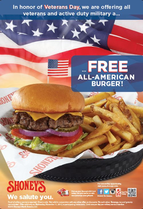 Shoneys Coupon October 2016 Veterans enjoy a free burger the 11th at Shoneys restaurants