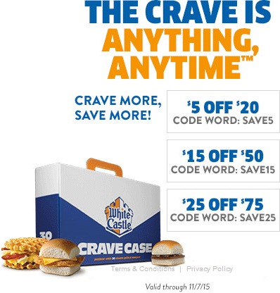 White Castle Coupon April 2019 $5 off $20 & more online at White Castle via promo code SAVE5