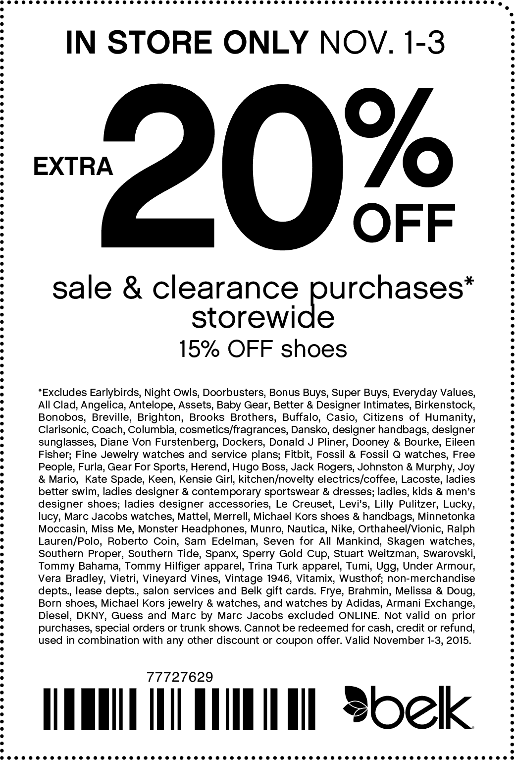 Belk Coupon November 2017 Extra 20% off sale & clearance at Belk