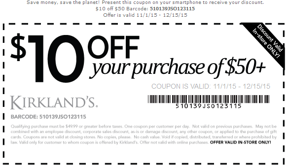 Kirklands Coupon September 2017 $10 off $50 at Kirklands