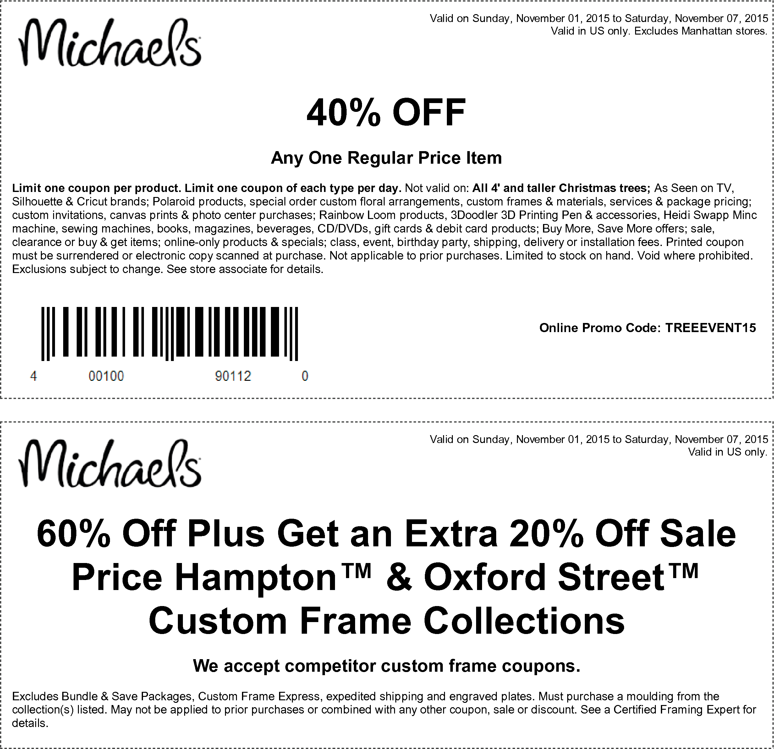 Michaels Coupon May 2017 40% off a single item at Michaels, or online via promo code TREEEVENT15
