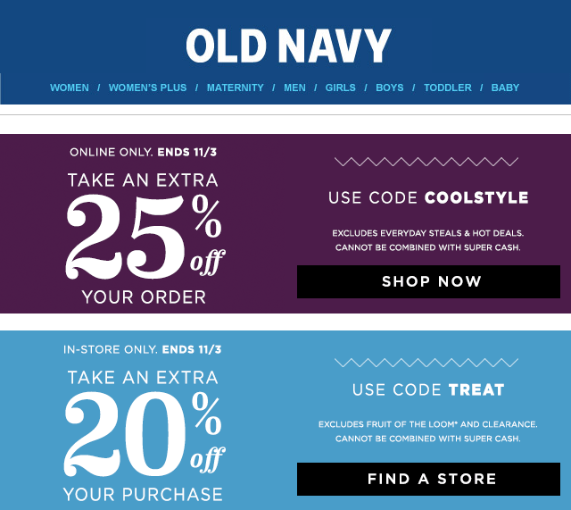 Old Navy Coupon April 2017 20% off at Old Navy, or 25% online via promo code COOLSTYLE