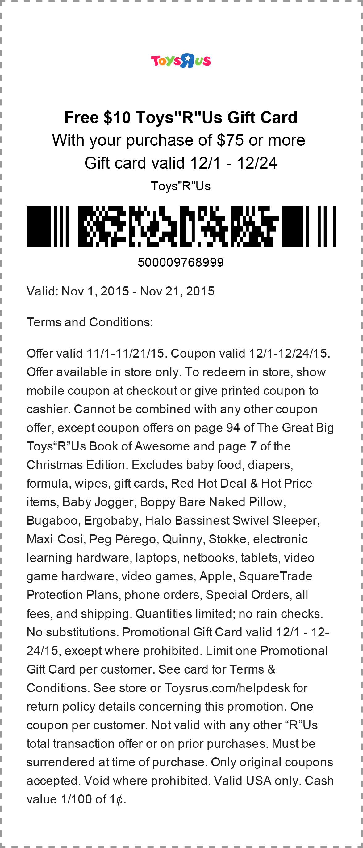 Toys R Us Coupon October 2018 $10 gift card free with $75 spent at Toys R Us