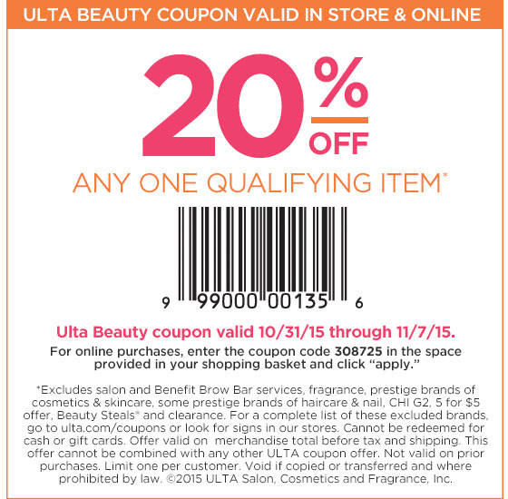 Ulta Coupon April 2017 20% off a single item at Ulta, or online via promo code 308725
