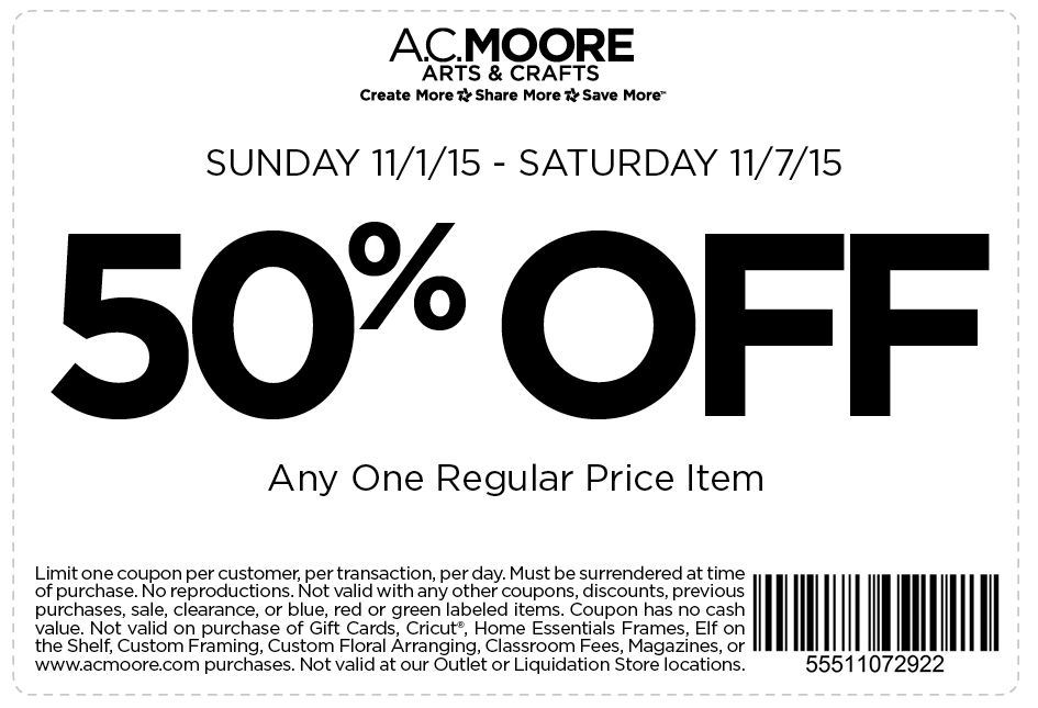 A.C. Moore Coupon March 2019 50% off a single item at A.C. Moore