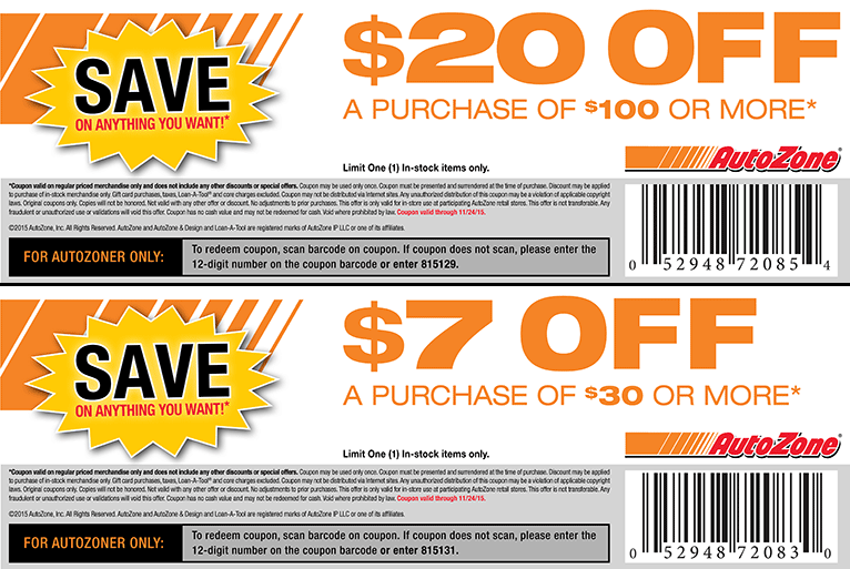 AutoZone Coupon March 2018 $7 off $30 & more at Autozone