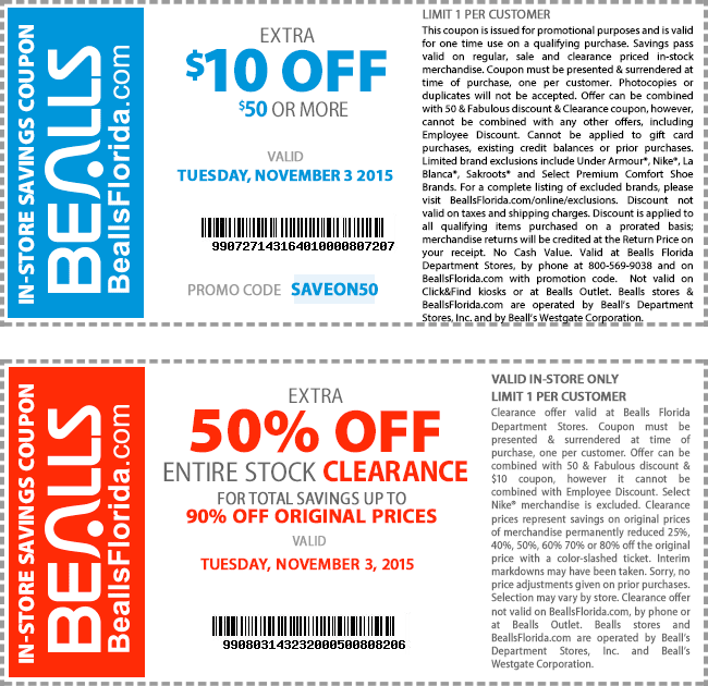 Bealls Coupon March 2019 $10 off $50 & more today at Bealls, or online via promo code SAVEON50