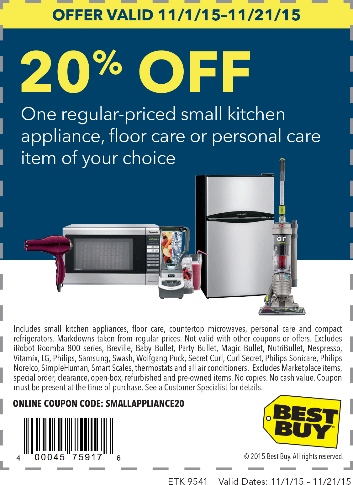 Best Buy Coupon March 2019 20% off a single small appliance at Best Buy, or online via promo code SMALLAPPLIANCE20