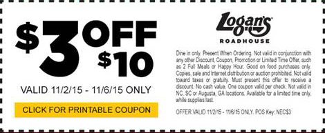 Logans Roadhouse Coupon January 2017 $3 off $10 at Logans Roadhouse restaurants