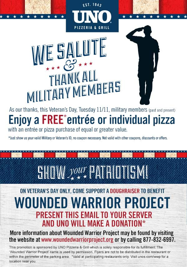 Uno Pizzeria Coupon August 2017 Military enjoy a free entree or pizza the 11th at Uno pizzeria & grill