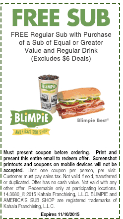 Blimpie Coupon April 2017 Second sub sandwich free at Blimpie