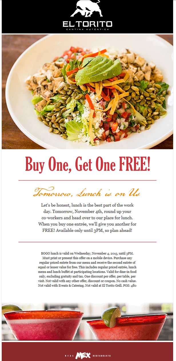 El Torito Coupon December 2016 Second lunch free today at El Torito