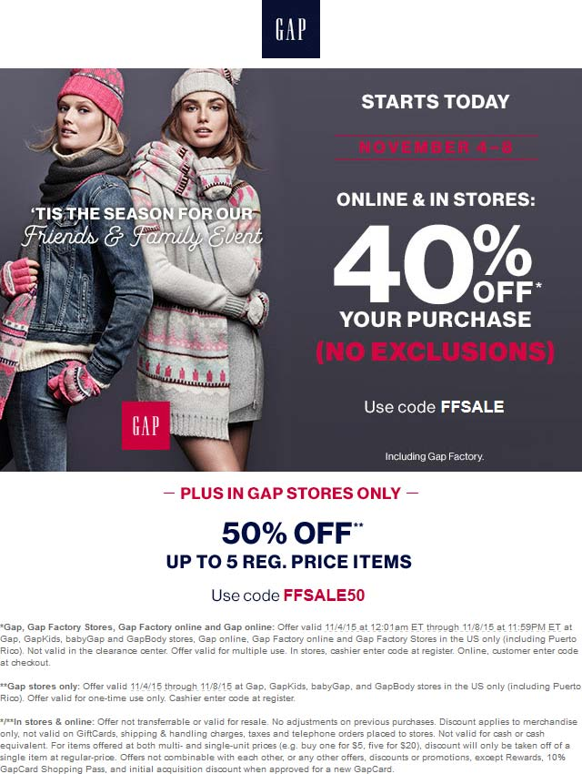 Gap Coupon September 2017 40% off everything at Gap, GapKids, babyGap and GapBody stores, or online via promo code FFSALE50