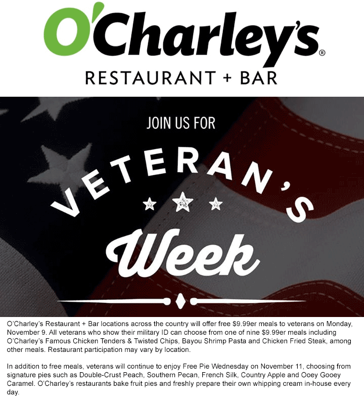 OCharleys Coupon April 2018 $10 meal free for veterans Monday at OCHarleys restaurant & bar