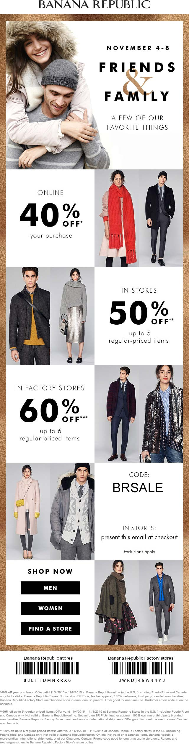 Banana Republic Coupon September 2017 Extra 40-60% off at Banana Republic & factory locations, or online via promo code BRSALE